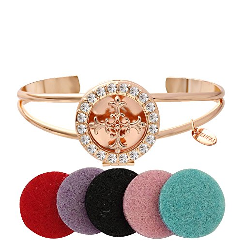 SENFAI 3 Colors Openable Crystal Flower Cross Round Box Locket Bangles Essential Oil Aromatherapy Diffuser Cuff Bangle Bracelet (Rose gold)