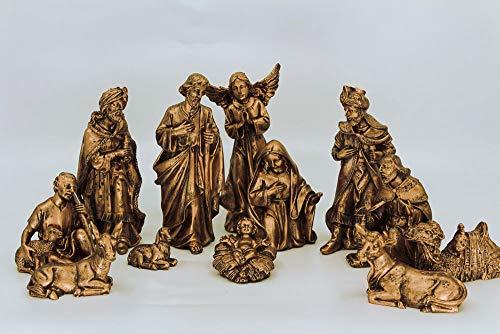 Presépio completo com 12 Peças - Resina - Pintura Dourada