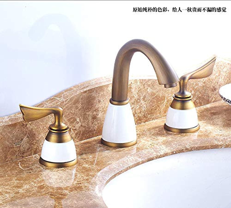 ZHAOSHOP Wasserhahn Kupfer Split Drei-Loch-Wasserhahn Bad Becken heies und kaltes Wasser Mischbatterie Gold Jade Wasserhahn