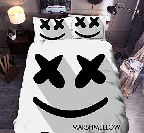 HDBUJ gewatteerde sprei van polyester, 3D-druk smiley persoonlijkheid, elegant, twee bijpassende kussenslopen, wit