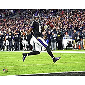Baltimore Ravens Lamar Jackson High Stepping Into The Endzone. 8x10 Photo Picture