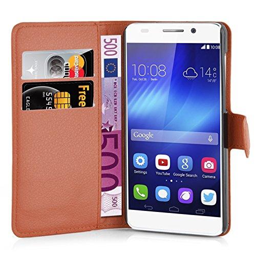 Cadorabo Hülle für Honor 6 - Hülle in Schoko BRAUN – Handyhülle mit Kartenfach und Standfunktion - Case Cover Schutzhülle Etui Tasche Book Klapp Style - 2