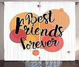 Tr674gs - Cortinas con estampado de caligrafía Best Friends, para salón, dormitorio, ventana, 2 paneles, 110 x 178 pulgadas, color naranja pálido, salmón oscuro, melocotón oscuro y marrón arena