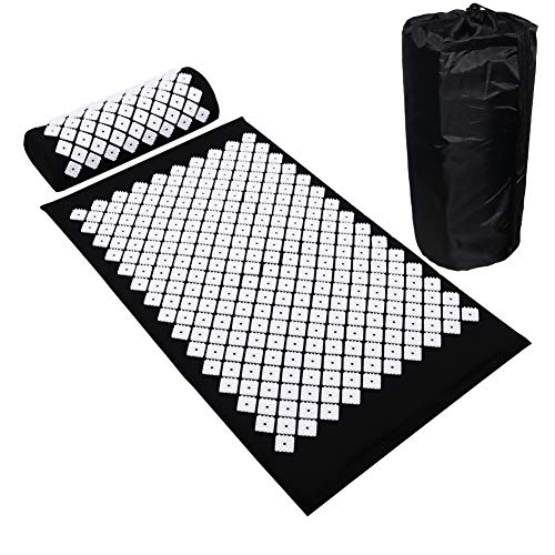 Acupuncture Mat Large Size Accupressure Body Mat Set with Pillow for Back/Neck/Feet Pain Relief and Muscle Relaxation Black Black