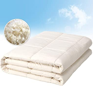 OZINCI 100% Pure Wool Filled Comforter for All Seasons, Encased in 100% Cotton Down Alternative Comforter, Duvet Insert, Natural White, Woolmark Certified (Twin)