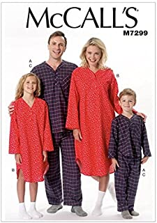 McCall's Patterns MP480 / M7299 Misses'/Men's/Boys'/Girls' Top, Nightshirt & Pants, Adult (Small-Medium-Large-X-Large)
