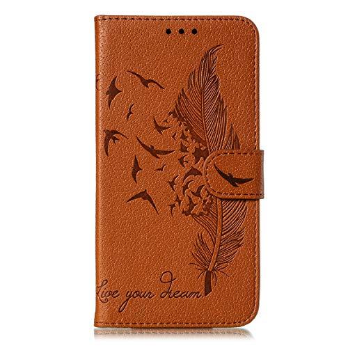 Sunrive Hülle Für LG Q Stylus Plus/Q Stylus, Magnetisch Schaltfläche Ledertasche Schutzhülle Hülle Handyhülle Etui Cover Handy Tasche Lederhülle MEHRWEG(W12 Feder braun)