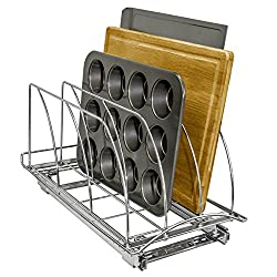 chrome slide out rack with muffin pan cutting board and cookie sheet