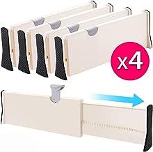 Drawer Dividers Organizer 4 Pack, Adjustable Separators 4