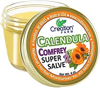 Calendula Comfrey Super Salve, Large 4 oz jar by Creation Farm Herbal Balm Salves Moisturizer Ointment No G...