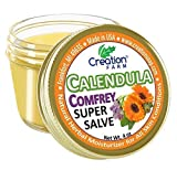 Calendula Comfrey Super Salve, Large 4 oz jar by Creation Farm Herbal Balm Salves Moisturizer Ointment No Gluten, No Soy, No Parabens, No GMO Herbs Grown and Made in USA Comforts Eczema, Psoriasis