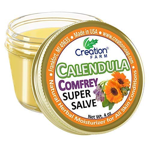 Calendula Comfrey Super Salve, Large 4 oz jar by Creation Farm Herbal Balm...