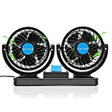 12V Car Fans Cooling Air Fan Powerful Dashboard Electric Car Fan Cigarette Lighter Low Noise 360 Degree Rotatable for Truck Vehicle Boat Van SUV RV