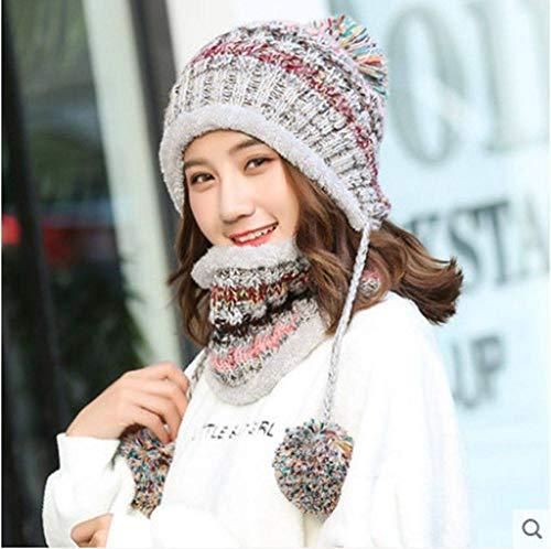 MYYLFF Bonnet Tricoté,en Hiver Hat Et Circle Foulard pour Les Femmes,Les Femmes Gris Hat Foulard Pom Pom Beanie Hat Options De Couleurs