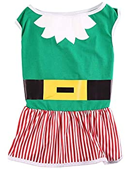Impoosy Christmas Dog Dresses Merry Christmas Pet Elf Clothes Cotton Clothes Puppy Xmas Funny Tutu Plush Ruffle Skirt  2XL
