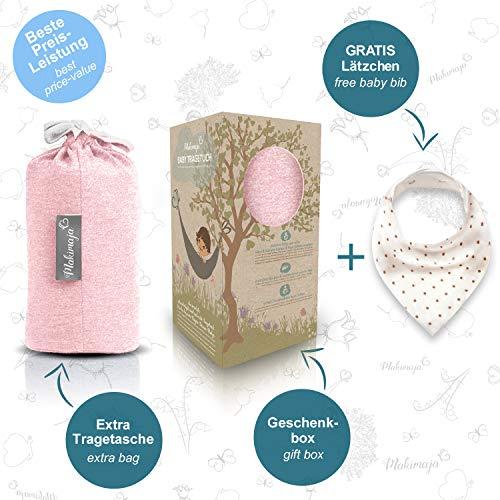 Babytragetuch aus 100% Baumwolle – Rosa – hochwertiges Baby-Tragetuch für Neugeborene und Babys bis 15 kg – inkl. Aufbewahrungsbeutel und GRATIS Baby-Lätzchen – liebevolles Design von Makimaja® - 3