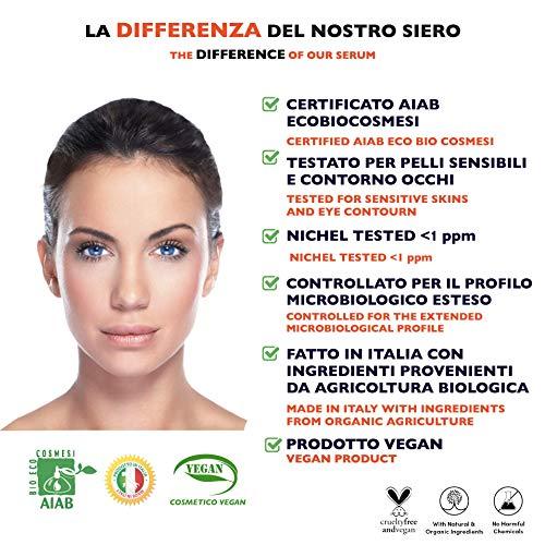 60ml. Bio Siero Viso con Acido Ialuronico Puro 100%. Biologico alla Vitamina C-E. Con Noti Agenti Antirughe, Antimacchie e Antietá. Anche per Contorno Occhi e Dermaroller - Vegano, Made in Italy.