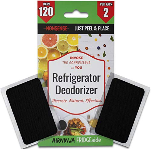 Fridge Refrigerator Freezer Deodorizer PATCH | Organic Odor Eliminator | 4 Month Supply | Foul Smell Remover | BEATS Baking Soda & Activated Bamboo Charcoal | Fragrance & Chemical Free | 2 Pack