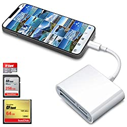 small DenicMic SDCF Card Reader for iPhone iPad SD CFTF Memory Card Reader Adapter Digital Camera…