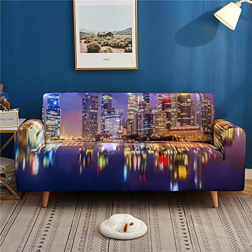3D Digital City Landscape Printing Sofa Cover, Dust-Proof, Non-Slip High Elastic Sofa Cover 1 2 3 4 Seater