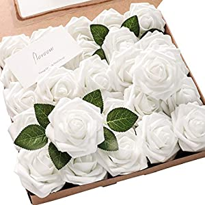 Floroom Artificial Flowers 25pcs Real Looking White Fake Roses with Stems for DIY Wedding Bouquets Baby Shower Centerpieces Floral Arrangements Party Tables Home Decorations