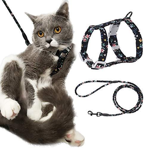 PETTOM Arnes Gato Ajustable Antiescape con Correa Cuerda Redonda Cómodo Seguridad para Pequeño Grande Gato Cachorros para Caminar Viajes (Negro M)
