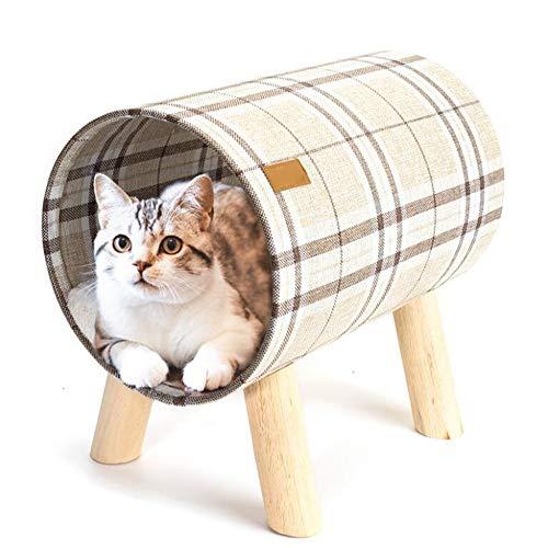 TAO Kratzbäume Zylindrische Katzentoilette, abnehmbar und waschbar Katzenbett, Massivholz-Hocker Beine, All Seasons, 40x26x38cm