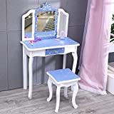 Nromant Kids Girls Vanity, Girls Vanity Set with Mirror and Stool, Kids Vanity Set with Mirror, Makeup Dressing Play Table Set with Two 180° Folding Mirror for Girls