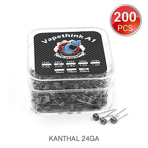 Vapethink Fil de R/ésistance Wire 0.8 ohm 200 PCS Kanthal A1 26 AWG Coil Pr/éfabriqu/és