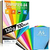 100 fogli di CARTA ARGILLA - carta colorata DIN A4-130 g/m² Set di 20 colori - accessori per lavori manuali per album fotografici da regalare per essere creativi Stampabile