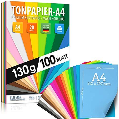 100 Blatt TONPAPIER - Buntes Papier DIN A4-130g/m² Set 20 Farben – Stabil Bastelpapier & Farbige Blätter, Kinder & DIY Bogen, Zubehör zum Basteln für Fotoalbum Geschenke zum Kreativ sein Bedruckbar