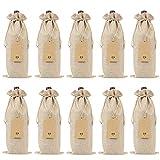 SHUAISHUAI Sacs à vin BLANLAP Sacs-cadeaux à vin avec cordons de cordon de cuve de vin réutilisable avec des cordes et des étiquettes (10 pcs) Beau sac cadeau