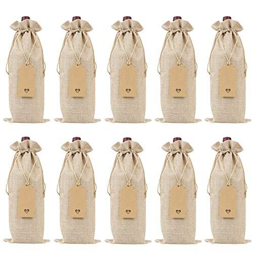 SHUAISHUAI Bolsas de vino de arpillera bolsas de regalo de vino con cordones, cubiertas de botella de vino reutilizables individuales con cuerdas y etiquetas (10 piezas) Hermosa bolsa de regalo