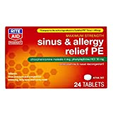 Rite Aid Sinus & Allergy Relief PE Tablets, Maximum Strength- 24 Count | Antihistamine and Nasal Decongestant | 4 Hour Allergy Medication | Allergy and Congestion Relief Tablets | Nasal Allergy Relief