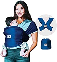 Baby K'tan Active Oasis Baby Carrier – No-Wrap Hygienic Baby Wrap with HeiQ V-Block Fabric - Simple Pre-Wrapped Infant Carrier for Babywearing, Turquoise&Blue, Medium (Women 10-14 / Men 39-42)