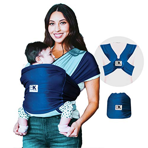 Baby K#039tan Active Oasis Baby Carrier – NoWrap Hygienic Baby Wrap with HeiQ VBlock Fabric  Simple PreWrapped Infant Carrier for Babywearing TurquoiseampBlue XSmall Women 24 / Men 36