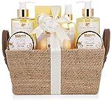 BRUBAKER Cosmetics Set de Baño y Ducha'Vainilla Rose Mint' - Fragancia de Menta rosa Vainilla - 9 piezas set de regalo en estuche con asas