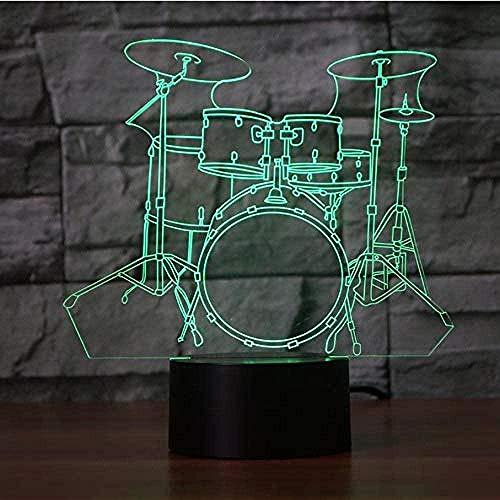 Luces nocturnas Drum7 colores cambio de coche luces acrílicas para habitación infantil habitación infantil habitación de del hogar juguete 3D luz nocturna de