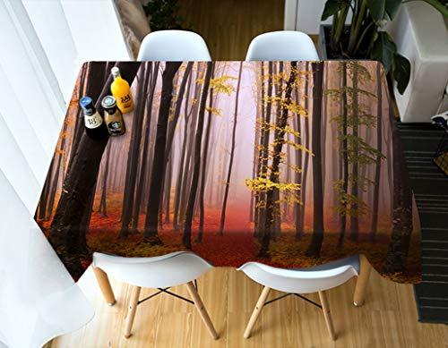 Rubyia Mantel Antimanchas Rectangular, Table Cloth Patrón del Bosque Decoración del Hogar, Poliester, 152 x 228 cm, Negro Rojo