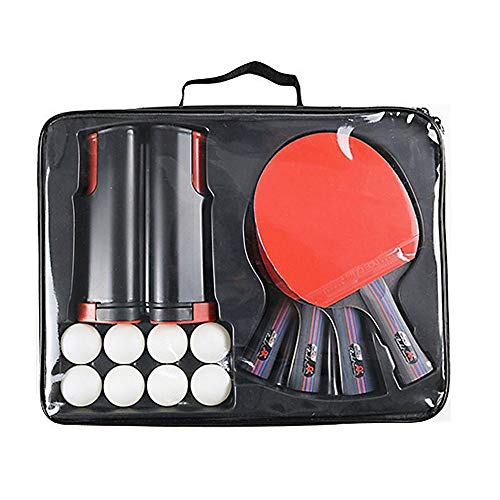 Great Deal! MASALING Ping Pong Ball Set,4 Table Tennis Bats, Eight-Balls, 1 Black Retractable Profes...