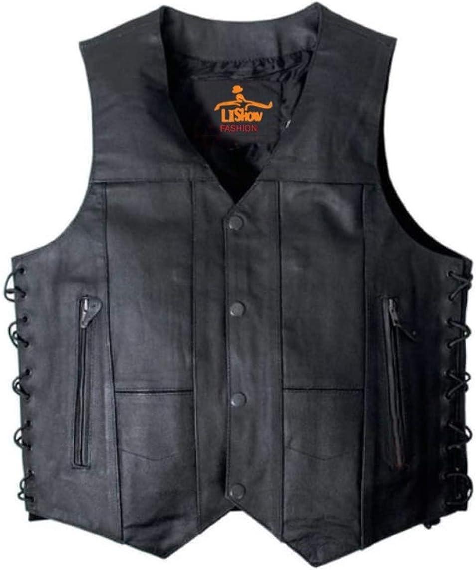 Men's Biker Rocker Rider motorcycle Motorbike Retro Club Genuine Cowhide Leather vest