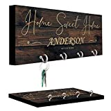 Personalized Key Holder for Wall - Custom Key Hanger with Family Name | 12 Designs, 8 Background Options | House Warming Presents for New Home, Wedding Gifts for Couple, Natural Wood Key Rack