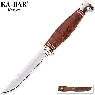 KA-BAR LITTLE FINN HUNTER KNIFE w/ LEATHER SHEATH