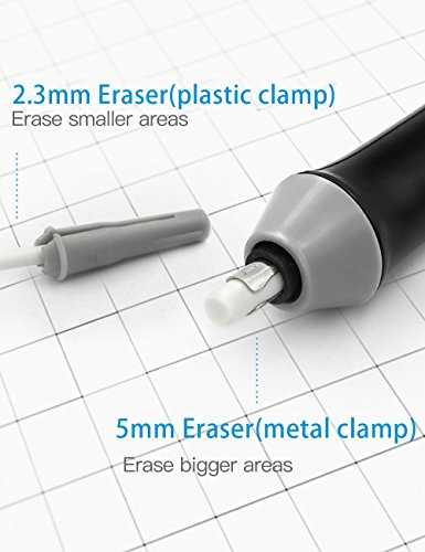 Electric Eraser with Refills, Electric Erasers for Artists, Battery Operated Eraser, Electric Eraser Kit for Art Pencils, Drawing, Painting, Sketching, Drafting, Arts and Crafts-Black Photo #7