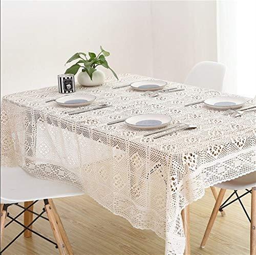 Élégant et luxueux Table de table en coton en coton en coton au crochet en dentelle blanche Home Hotel Hôtel Décor textile Cadeaux de vacances (Color : Beige, Specification : 85x85cm)