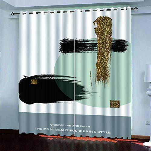 DRFQSK Cortinas Habitacion Opacas 2 Piezas con Ojales 3D Creativo Dorado Negro Cortinas Termicas Aislantes Frio Y Calor para Salón Dormitorio Decoración De La Ventana 117 X 230 Cm(An X Al)