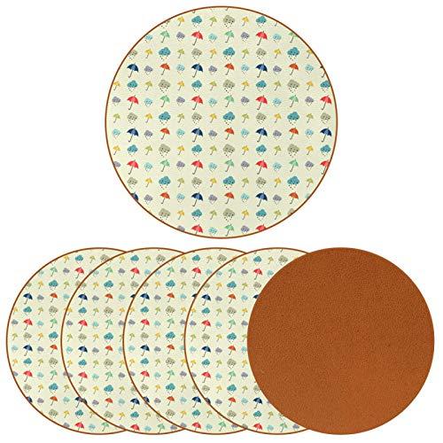 Posavasos redondo de piel de microfibra para bebidas, alfombrilla de protección para tazas y tazas, oficina, cocina (6 piezas), paraguas de color