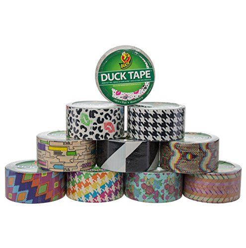 10 Rolls Bulk Lot Colored Duck Duct Tape Pack Print Patterns DIY Arts Crafts Projects 100yds Hobby