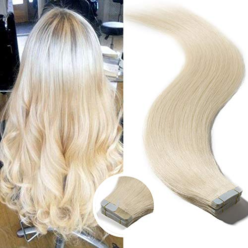 Elailite Tape Extensions Echthaar Klebeband Haarteile Tape in Haarverlängerung Remy Human Hair Glatt 20 Stück 50g 22