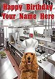 Tarjeta de felicitación de cumpleaños tamaño A5 personalizable con diseño de perro Cocker Spaniel inglés j482 Chef Cook, regalo de cumpleaños para todos los 2016 de Derbyshire UK